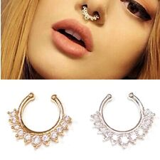 1pcs Fashion Non Piercing Crystal Septum Clip On Fake Nose Ring Body Jewelry UK