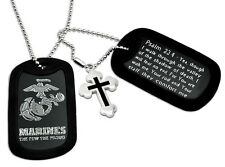 U.S. Marines Logo and Psalm 23:4 Inscription Military Dog Tag Necklace 24 Inches