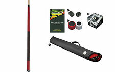 Viking A235 Crimson Red Stain Pool Cue Stick 18-21 oz Case Playboy 8-Ball Shaper