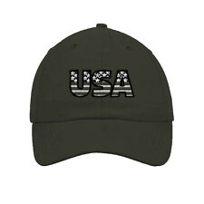 Usa Gray American Flag Embroidered Soft Unstructured Hat Baseball Cap