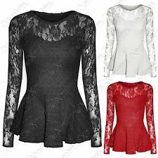WOMENS LADIES LACE MESH PEPLUM FRILL TOPS BODYCON SMART LONG SLEEVED TOP BLOUSE