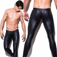 Mens Faux Leather Leggings Club Dance Long Pants Skinny Muscle Tight Trousers