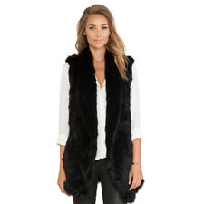 Women Thick Fur Women Vest 100% Real Genuine Knitted Rabbit Fur Hook Vest V0111