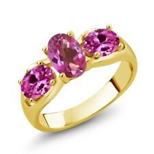 1.80 Ct Mystic Topaz Pink Created Sapphire 18K Yellow Gold Plated Silver Ring