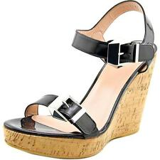 Stuart Weitzman Two Much Women  Open Toe Patent Leather Black Wedge Sandal NWOB