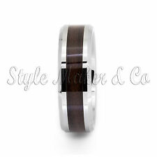 Tungsten Carbide Ring Men's Wedding Band Wood Inlaid Color Size 8-14