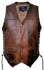 Mens Tall Size 10 Pockets Concealed Carry Retro Brown Buffalo Hide Leather Vest