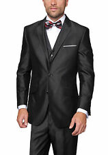 Mens Semi Solid Black Sharkskin Textured Three Piece Suit With Ticket Pocket