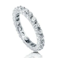 Authentic 925 Sterling Silver CZ Eternity Ring Wedding Band Promise Engagement