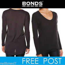 BONDS Womens Black Marle Sloppy Long Sleeve Drop Back Hem Top Jumper Pullover