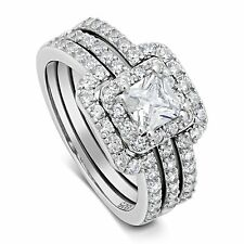 Women's 3.25 ctw PRINCESS CUT 925 Sterling Silver CZ Wedding Engagement Ring Set