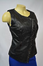 BEBE JACKET VEST Eyelet Leather Vest BLACK 217344 SOFT