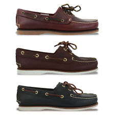 NEW TIMBERLAND SHOES - CLASSIC 2 EYE BOAT SHOE - BROWN/NAVY - BNIB