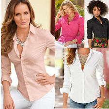 Long Top Womens Blouse Slim Sleeve Shirt Blouse Fashion Cotton Fit Ladies Casual