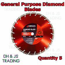 "5x 300mm (12"") Pro Diamond Blade General Purpose - Mortar Pointing Rake Disc"