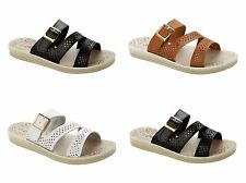WOMENS STRAPPY CASUAL COMFY LOW WEDGE WALKING SUMMER SANDALS LADIES UK SIZE 3-8