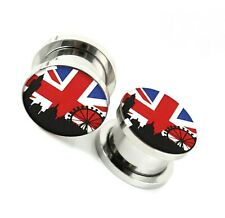 Union Jack Screw Fit Ear Plug Flesh Tunnel Stretcher Surgical Steel 6-25mm
