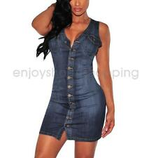 New Sexy Women Sleeveless Party Dress Cocktail Casual Mini Demin Dress Blue