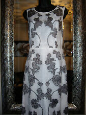 NEXT CLASSY SIZE 8 PETITE WHITE ORGANZA LACE EMBROIDERED MIDI DRESS NEW RRP £80