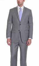 Zanetti Mens Classic Fit Gray Birdseye Two Button Wool Suit