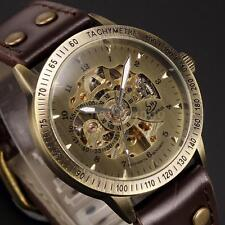Mens Vintage Bronze Dial Leather Strap Skeleton Automatic Mechanical Watch Q9J8