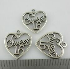 "6/24/200pcs Tibetan Silver Alloy ""Sweet 16"" Charms Heart Pendants 18x21mm"