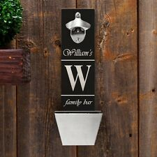 Wall Mounted Personalized Beer Bottle Bar Pub Opener w/ Cap Catcher