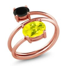 2.08 Ct Oval Canary Mystic Topaz Black Onyx 18K Rose Gold Plated Silver Ring