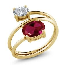 2.15 Ct Oval Red Created Ruby White Topaz 18K Yellow Gold Plated Silver Ring