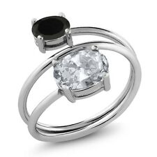 2.08 Ct Oval White Topaz Black Onyx 925 Sterling Silver Ring
