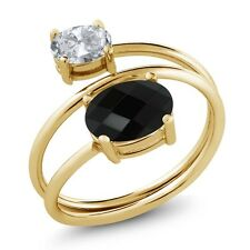2.12 Ct Oval Checkerboard Onyx White Topaz 18K Yellow Gold Plated Silver Ring