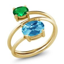 2.10 Ct Swiss Blue Topaz Simulated Emerald 18K Yellow Gold Plated Silver Ring