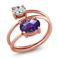 1.86 Ct Oval Checkerboard Amethyst Aquamarine 18K Rose Gold Plated Silver Ring