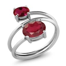 2.50 Ct Oval African Red Ruby Red Created Ruby 925 Sterling Silver Ring