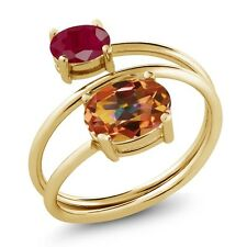 2.50 Ct Oval Ecstasy Mystic Topaz Red Ruby 18K Yellow Gold Plated Silver Ring