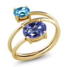 2.30 Ct Blue Mystic Topaz Swiss Blue Topaz 18K Yellow Gold Plated Silver Ring