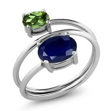 2.79 Ct Oval Blue Sapphire Green Tourmaline 925 Sterling Silver Open Ring