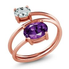 1.86 Ct Purple Amethyst Sky Blue Aquamarine 18K Rose Gold Plated Silver Ring