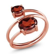 2.20 Ct Oval Red Garnet 18K Rose Gold Plated Silver Open Ring