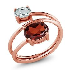 2.06 Ct Oval Red Garnet Sky Blue Aquamarine 18K Rose Gold Plated Silver Ring