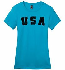 Distressed USA Ladies Soft T Shirt American Pride Patriotic Home Gift Tee Z4