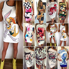 New Women's Printed Party Evening Clubwear Casual Slim Bodycon Short Mini Dress