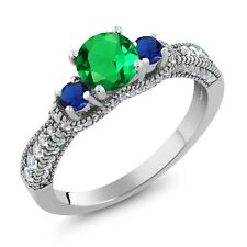 2.02 Ct Green Simulated Emerald Blue Simulated Sapphire 925 Sterling Silver Ring