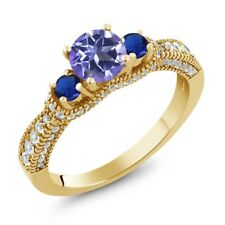 2.25 Ct Blue Mystic Topaz Simulated Sapphire 18K Yellow Gold Plated Silver Ring