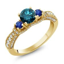 2.05 Ct Round Blue Diamond Blue Sapphire 18K Yellow Gold Plated Silver Ring