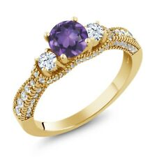 1.72 Ct Round Purple Amethyst White Topaz 18K Yellow Gold Plated Silver Ring