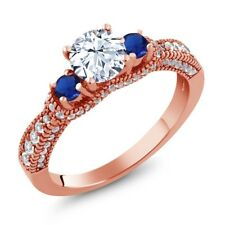 2.15 Ct White Topaz Blue Simulated Sapphire 18K Rose Gold Plated Silver Ring