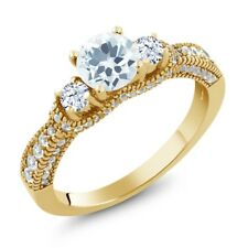 2.02 Ct Round Sky Blue Aquamarine White Topaz 18K Yellow Gold Plated Silver Ring
