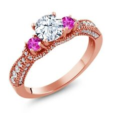 1.75 Ct Round White Topaz Pink Sapphire 18K Rose Gold Plated Silver Ring