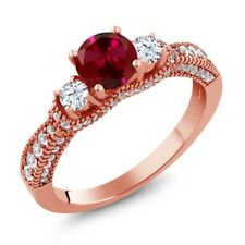 2.27 Ct Round Red Created Ruby White Topaz 18K Rose Gold Plated Silver Ring